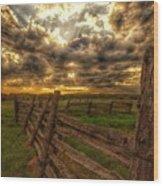 Split Rail Cedar Fence Sunset Wood Print