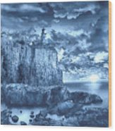 Split Rock Lighthouse Blue Wood Print