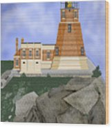 Split Rock Lighthouse On The Great Lakes Wood Print
