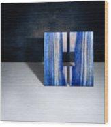 Split Square Blue Wood Print