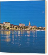 Split Waterfront Blue Hour View Wood Print