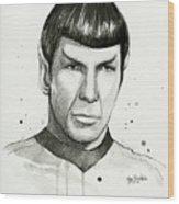 Spock Watercolor Portrait Wood Print