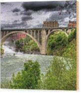 Spokane Falls And Monroe Bridge Wood Print