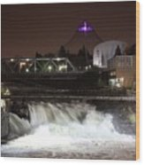 Spokane Falls Night Scene Wood Print