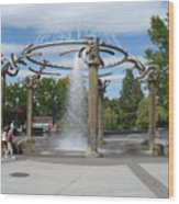 Spokane Fountain Wood Print