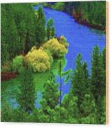Spokane River Blues Wood Print