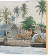 Sponge Fisherman In The Bahama Wood Print