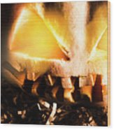 Spooky Jack-o-lantern In Darkness Wood Print