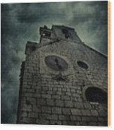Spooky Medieval Church Wood Print