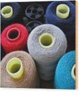 Spools Of Yarn Wood Print by Yali Shi