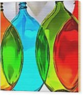 Spoon Bottles-rainbow Theme Wood Print
