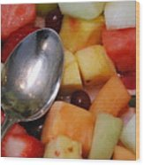 Spoon With Food Wood Print