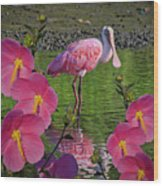 Spoonbill Through The Flowers Wood Print