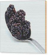 Spoonful Of Blackberries Wood Print
