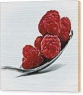 Spoonful Of Raspberries Wood Print