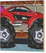 Sports Car Monster Truck Wood Print
