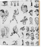 Sports Figures Collage Wood Print
