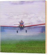Spraying The Fields - Crop Duster - Aviation Wood Print