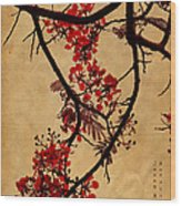 Spring Bloosom In Maldives. Flamboyant Tree I.  Japanese Style Wood Print