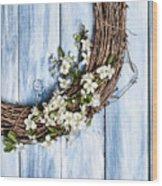 Spring Blossom Wreath Wood Print