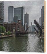 Spring Bridge Lift Scene In Chicago  Wood Print