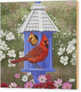 Spring Cardinals Wood Print by Crista Forest