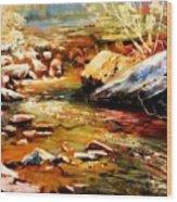 Spring Creek Glow Wood Print