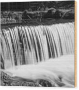 Spring Falls At Hodgson Grayscale Wood Print