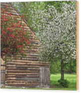 Spring Flowers And The Barn Wood Print