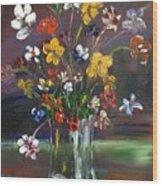 Spring Flowers In Vase Wood Print
