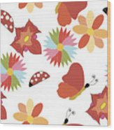 Spring Flowers Pattern Wood Print