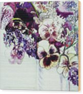 Spring Flowers With Fritillaria  Wood Print
