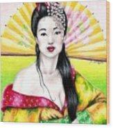 Spring Geisha Wood Print
