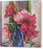 Spring In A Blue Bottle Wood Print