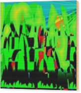 Spring In Digital Forest Wood Print