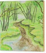 Spring Landscape, Watercolours Wood Print