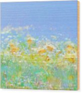 Spring Meadow Abstract Wood Print
