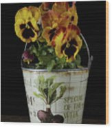 Spring Pansy Flowers In A Pail Wood Print