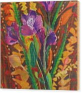 Spring Purple Bouquet Wood Print