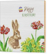 Spring Rabbit And Flowers Wood Print