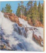 Spring Runoff At Glen Alpine Falls Wood Print