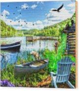 Spring Serenity At Lakeside Wood Print