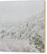 Spring Snow And Fog Highlands Wood Print