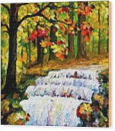 Spring Stream - Palette Knife Oil Painting On Canvas By Leonid Afremov Wood Print