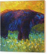 Spring Stroll - Black Bear Wood Print