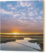 Spring Sunrise On Arcata Bay Wood Print