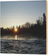 Spring Sunrise Over Mississippi River Wood Print