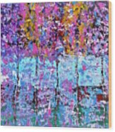 Spring Time In The Woods Abstract Oil Painting Wood Print