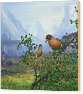 Spring Time Robins Wood Print