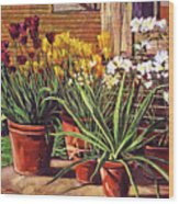 Spring Tulips And White Azaleas Wood Print